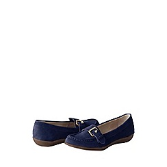Lands' End - Blue women's wide casual suede loafers