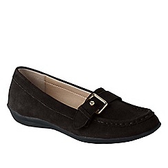 Lands' End - Brown women's wide casual suede loafers