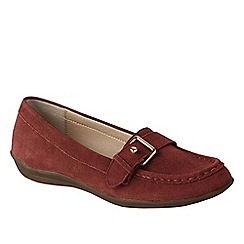 Lands' End - Red women's wide casual suede loafers