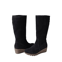Lands' End - Black women's wide chalet suede boots