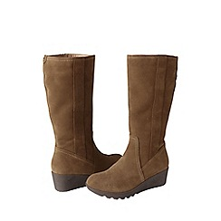 Lands' End - Beige women's wide chalet suede boots