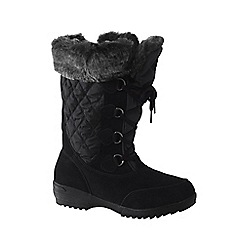 Lands' End - Black women's wide renata laced winter boots