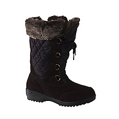 Lands' End - Brown women's wide renata laced winter boots