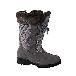 Lands' End - Grey wide renata laced winter boots