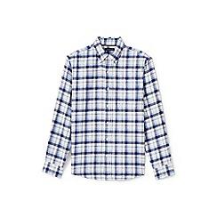 Lands' End - Blue slim fit patterned flannel shirt