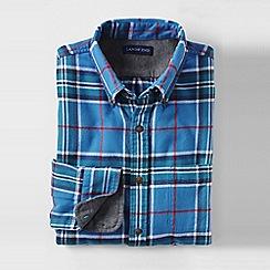 Lands' End - Blue men's slim fit patterned flannel shirt