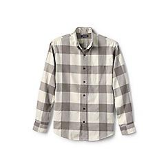 Lands' End - Beige traditional fit patterned flannel shirt