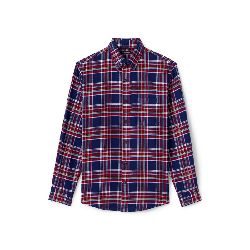 Lands End Red traditional fit patterned flannel shirt
