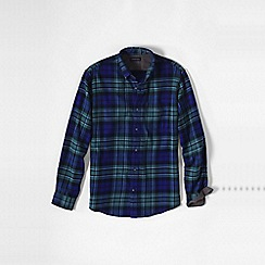 Lands' End - Blue traditional fit patterned flannel shirt
