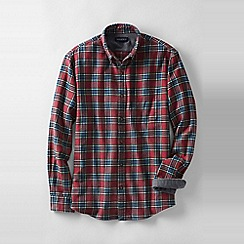 Lands' End - Red men's traditional fit patterned flannel shirt