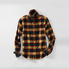 Lands' End - Brown men's traditional fit patterned flannel shirt