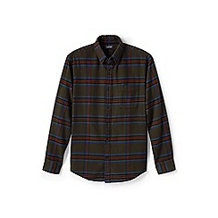 Lands' End - Brown traditional fit patterned flannel shirt