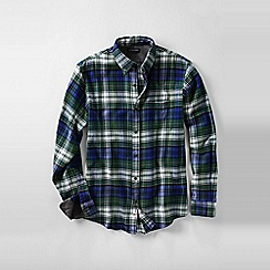 Lands' End - Blue men's traditional fit patterned flannel shirt