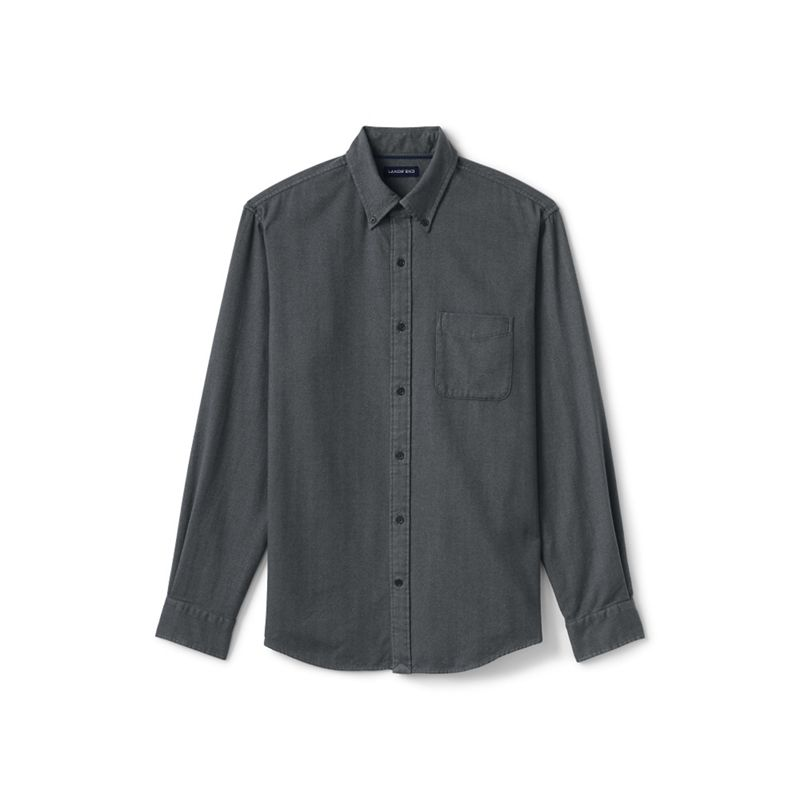 Lands End Grey traditional fit flannel shirt