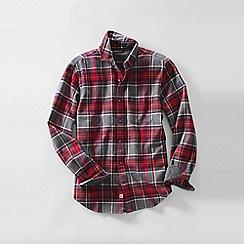 Lands' End - Grey men's traditional fit patterned flannel shirt