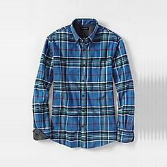 Lands' End - Blue men's traditional fit patterned flannel shirt
