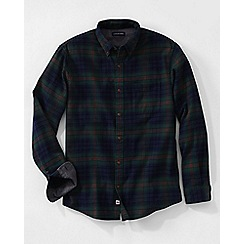 Lands' End - Green men's traditional fit patterned flannel shirt