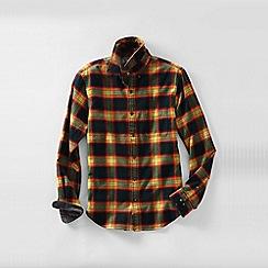 Lands' End - Brown men's traditional fit patterned flannel shirt