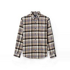 Lands' End - Beige traditional fit patterned flannel shirt
