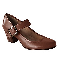 Lands' End - Brown women's wide heeled mary jane shoes