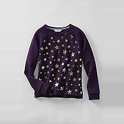 Lands' End - Purple little girls' long sleeve graphic sweatshirt