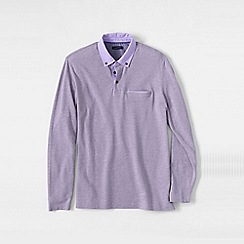 Lands' End - Purple long sleeve woven collar supima piqu polo