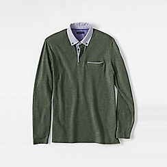 Lands' End - Green men's long sleeve woven collar supima piqu polo