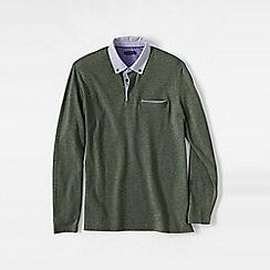 Lands' End - Green men's long sleeve woven collar supima piqu polo