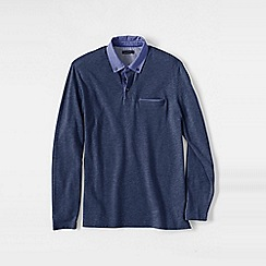 Lands' End - Blue men's long sleeve woven collar supima piqu polo