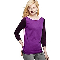 Lands' End - Purple fine gauge supima reg colourblock crew neck