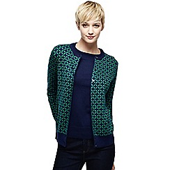 Lands' End - Blue women's lightweight jacquard supima eg fine gauge cardigan