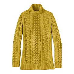 Lands' End - Gold women's lofty cable polo neck