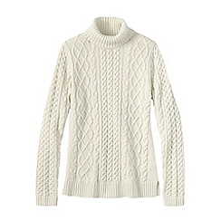 Lands' End - White petite lofty cable polo neck