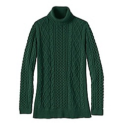 Lands' End - Green women's lofty cable polo neck
