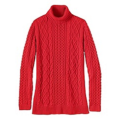 Lands' End - Red women's lofty cable polo neck