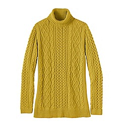 Lands' End - Gold petite lofty cable polo neck