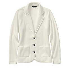 Lands' End - Cream women's tall polar fleece blazer