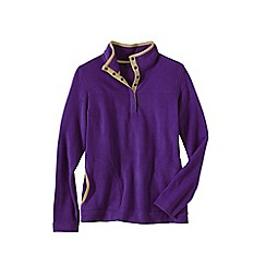 Lands' End - Purple polar fleece raglan polo neck