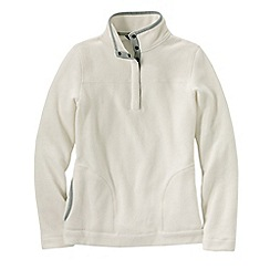 Lands' End - Cream women's polar fleece raglan polo neck