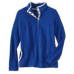 Lands' End - Blue women's polar fleece raglan polo neck