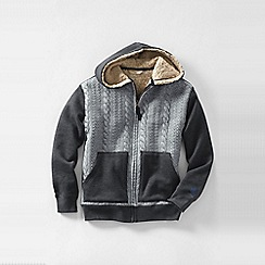 Lands' End - Grey boys' cable-quilted sherpa-lined hoodie
