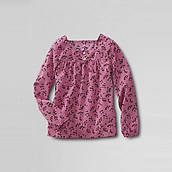 Lands' End - Pink shirred yoke woven shirt
