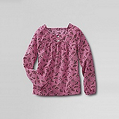 Lands' End - Pink little girls' shirred yoke woven shirt