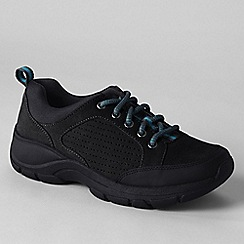 Lands' End - Black women's wide everyday suede lace-up shoes
