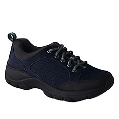 Lands' End - Blue women's wide everyday suede lace-up shoes