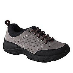 Lands' End - Grey women's wide everyday suede lace-up shoes