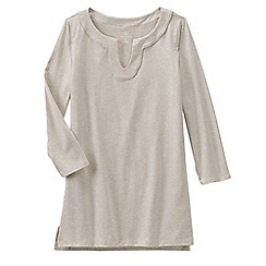 Lands' End - Beige women's three quarter sleeve notch neck tunic