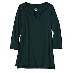 Lands' End - Green women's three quarter sleeve notch neck tunic