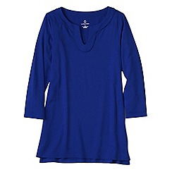 Lands' End - Blue women's three quarter sleeve notch neck tunic