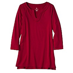 Lands' End - Red women's three quarter sleeve notch neck tunic